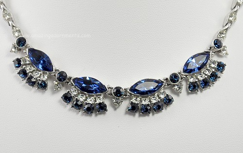 Vintage signed bogoff blue and clear rhinestone necklace for Bogoff vintage costume jewelry