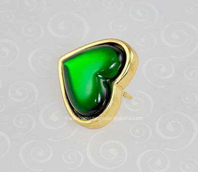 28060a3a5a5 Vintage Signed Yves Saint Laurent Green Heart Valentine's Lapel Pin ...