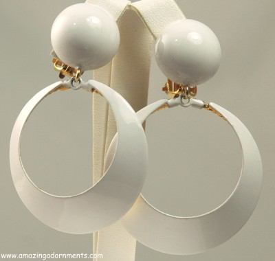 Funky Large White Enamel Hoop Dangle Earrings Signed Robert