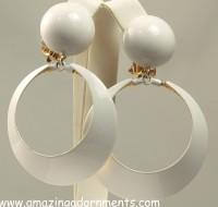 Funky Large White Enamel Hoop Dangle Earrings Signed Robert