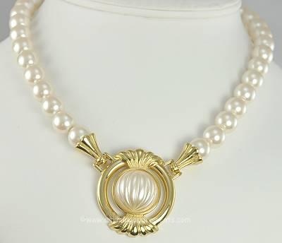 Stylish Etruscan Look Imitation Pearl Necklace Signed Richelieu