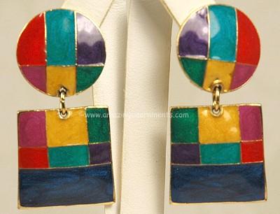 Mod Cloisonne Enamel Color Block Earrings Signed Edgar Berebi