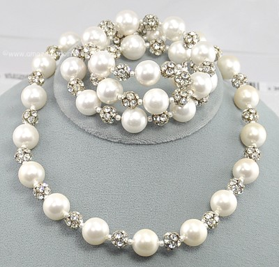 Vintage Bridal Jewelry on Fetching Signed Vendome Bridal Faux Pearl And Rhinestone Necklace And